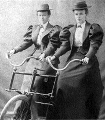 Sisters Flora and Susan Baker on a tandem bicycle, photo courtesy of Ipswich Historical Society