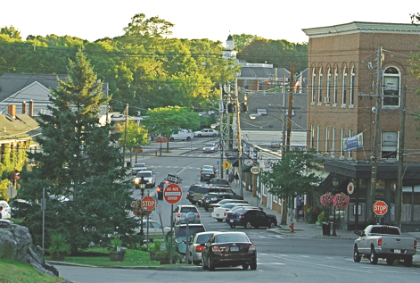 Looking from the North Green toward Market and Central streets in the 21st Century.