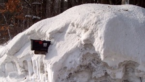 A New England mailbox covered in snow