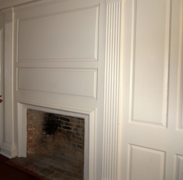 Fireplace and paneling in the Burnham-Patch house
