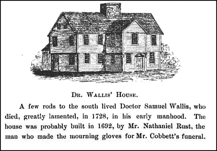 Dr. Wallis' house when it faced the South Green, as portrayed in the 250th Anniversary Celebration of Ipswich.
