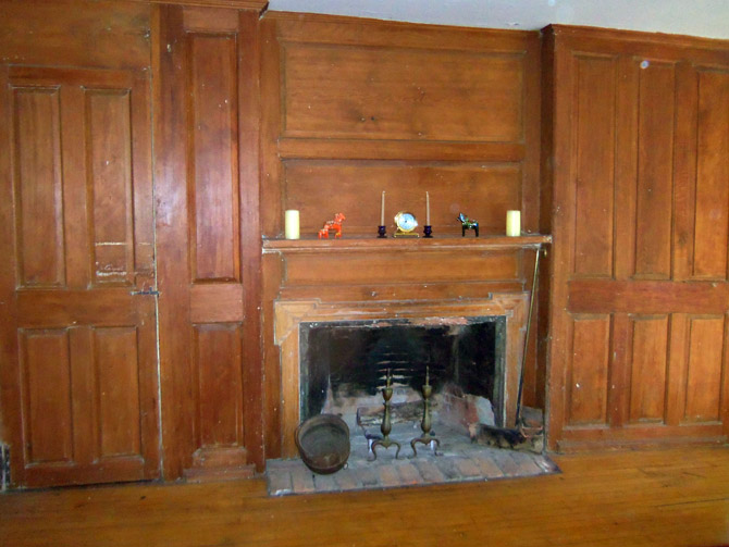 Hearth and paneling in the Levi Frisbie house