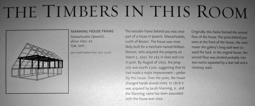 Description of the Manning House timbers at the MFA