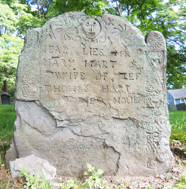 Mary Hart's tombstone at the Old North Burial Ground