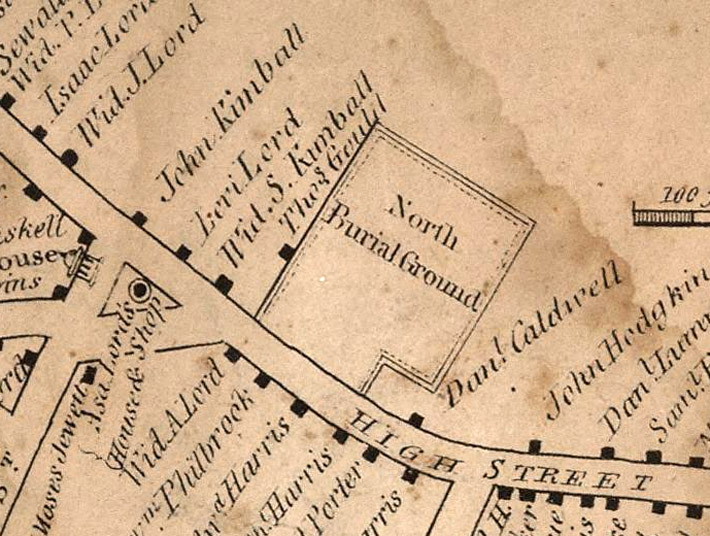 1832 Ipswich map shows the Old North Burying Ground.