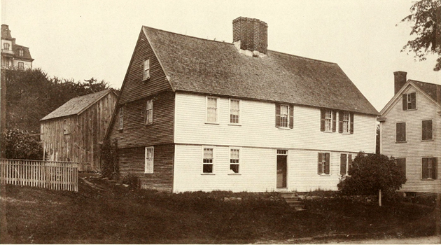 The Matthew Perkins house in 1884 (identified at that time as the Thomas Corbett house)