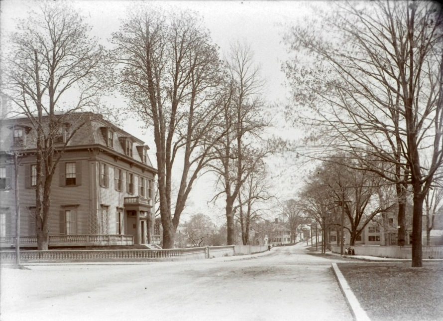 The Swasey Tavern, facing Poplar St. In the distance you can see the Cogswell School on Payne Street, and the historic Lakeman and Hodgkins houses at the intersection with Turkey Shore Road.