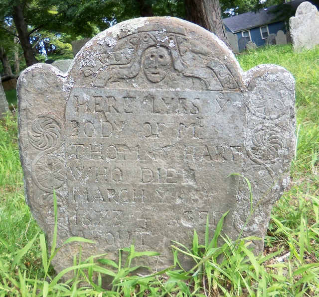 Thomas Hart's tombstone at the Old North Burial Ground in Ipswich