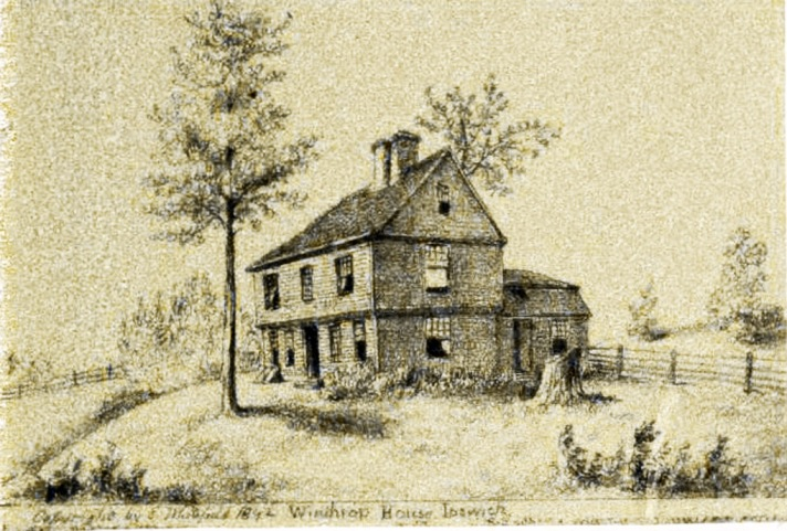 """In his 1892 booklet """"Homes of our Fathers,"""" Edwin Whitefield identified this as John Wihthrop's house, later owned by the Burnham family."""""""