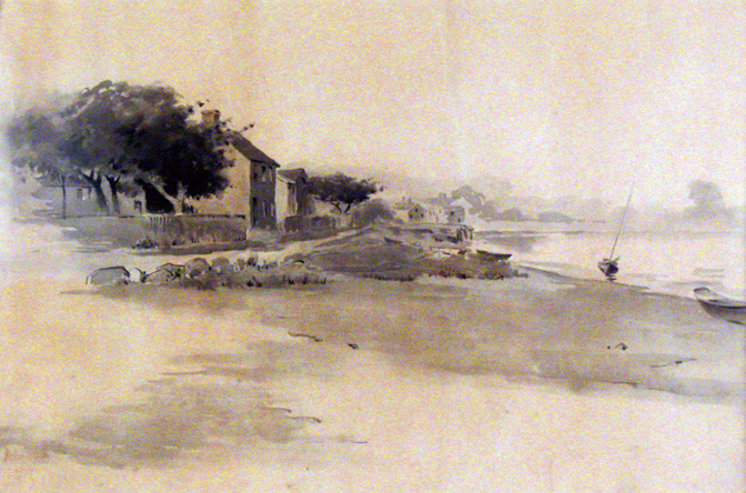 Watercolor of the Glazier-Sweet house by Arthur Wesley Dow, who lived across the river.
