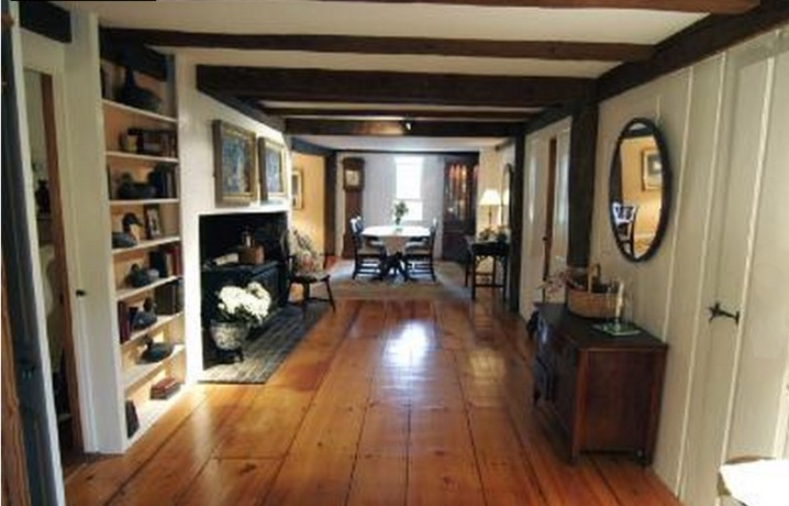 Hall in the Robert Kinsman house shows the post and beam construction which is apparent throughout.