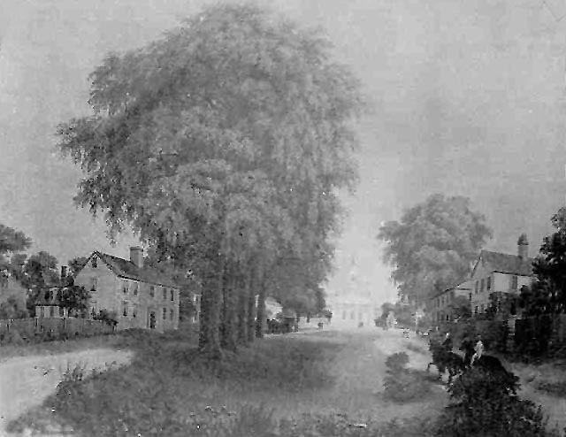 The Asa Wade house is on the right in this 19th Century sketch of the South Green.