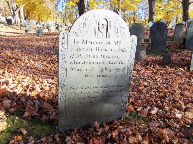 Hannah Haskell's tombstone at the Old North Burial Ground