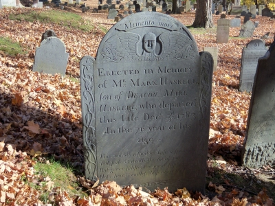 The tombstone of Mark Haskell at the Old North Burial Ground