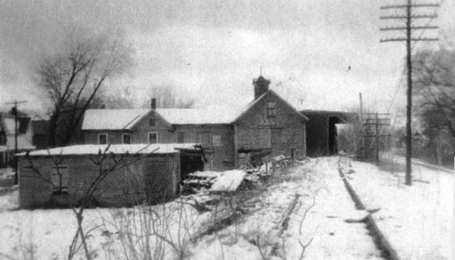 George B. Brown's gristmill was on a sidetrack of the B&O railroad. Some sources say it was on Brown St., but in this photo it appears to be near the intersection of Washington and Mineral Streets. Later used as a coal barn, it burned on March 11, 1976.