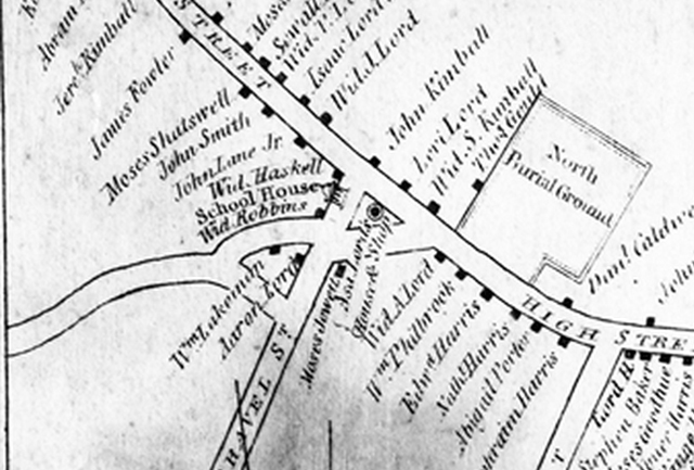 The 1832 Ipswich map identifies the Payne School location at the intersection of Lords Square and High St.