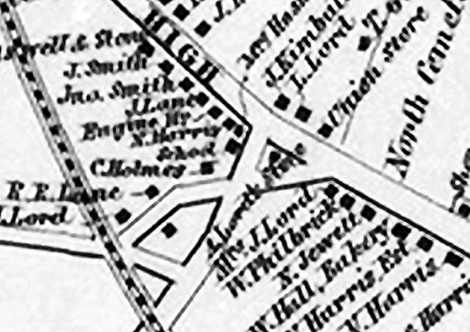 This closeup of the 1856 Ipswich map shows the Payne school very near the location of the Dunkin Donuts.
