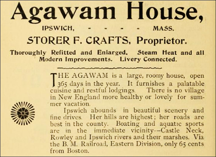 Advertisement for the Agawam House