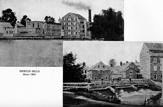 Ipswich Mills circa 1832, at the same location as EBSCO and the current dam and pedestrian walkway.