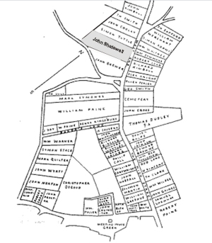 Early land grant map, from Ipswich in the Massachusetts Bay Colony by Thomas Franklin Waters.