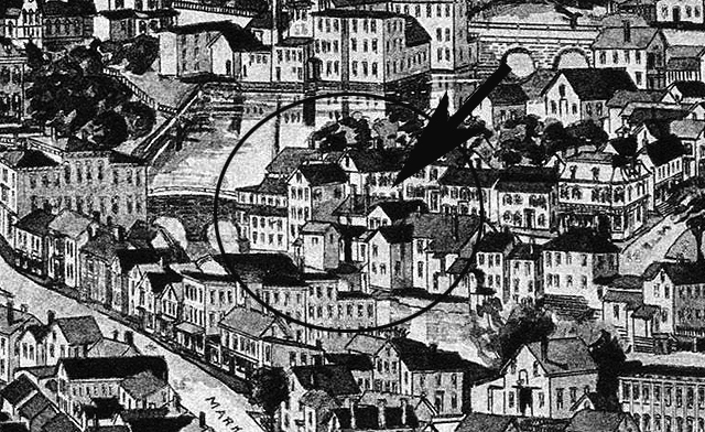 A closeup from the 1892 map of Ipswich shows the original Timothy Souther house, with a different roofline, and the Dr. Joseph Manning House across from the intersection with Elm Street.