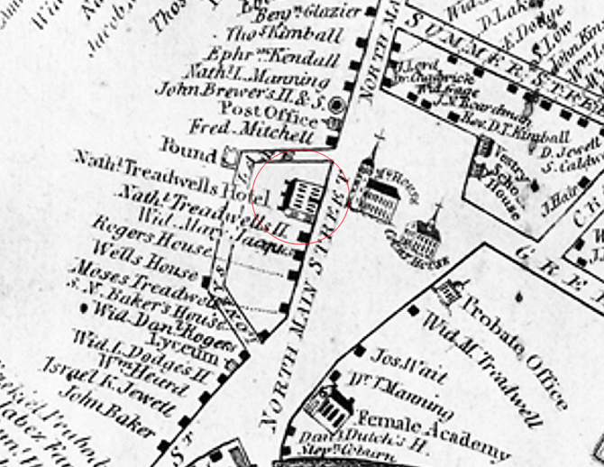 Closeup from the 1832 Ipswich map