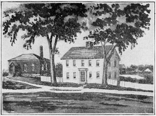The old Treadwell house was taken down to build the Library. This sketch from Genealogy of the Willcomb Family shows it next to the Probabte Court, later gained a second floor and is now the Odd Fellows Building.