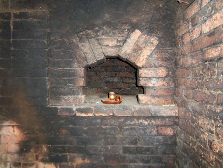 The William Caldwell house has three massive fireplaces downstairs, each with two small beehive ovens.