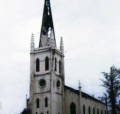 First Church was destroyed beyond repair by the 1965 fire. Photo provided by Linda George Grimes