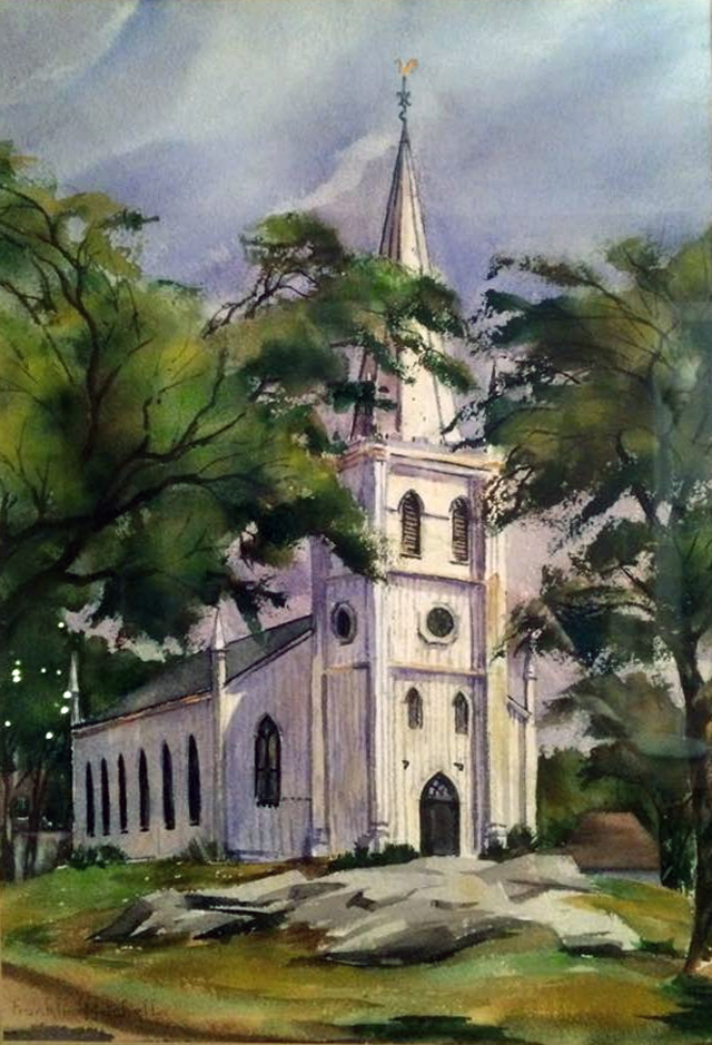 Painting of the old First Church by Franklin Butler Mitchell