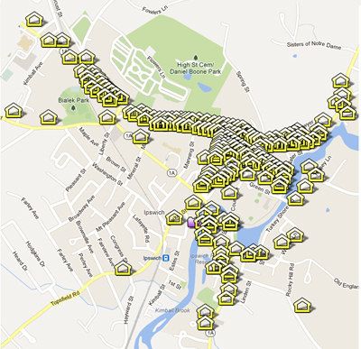 View an interactive Google map of historic houses in Ipswich
