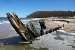 Wreck of the Ada K. Damon at Steep Hill Beach in Ipswich