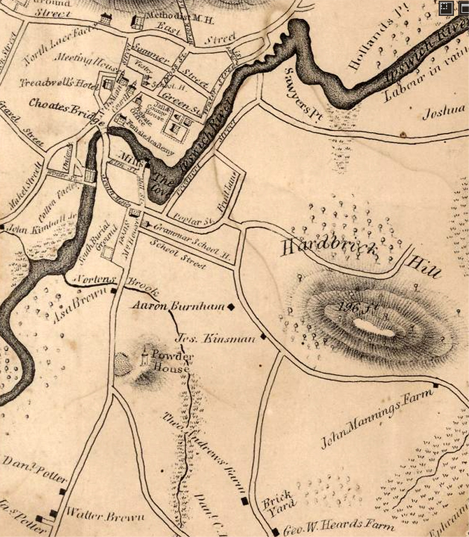 "The 1830 Philander map of Ipswich identifies ""Hard Brick Hill"" and a brickyard on today's Heartbreak Rd."