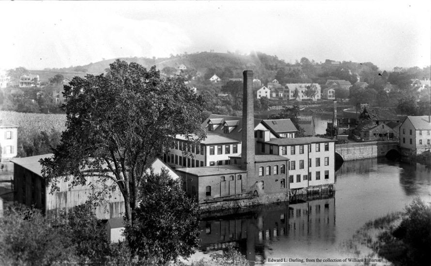 Heartbreak Hill rises beyond Turkey Shore in this 19th Century photo of the County Street woolen mill, no longer standing.