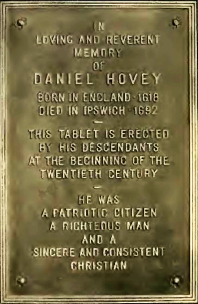 Plaque on Water St,. Ipswich MA in memory of Daniel Hovey