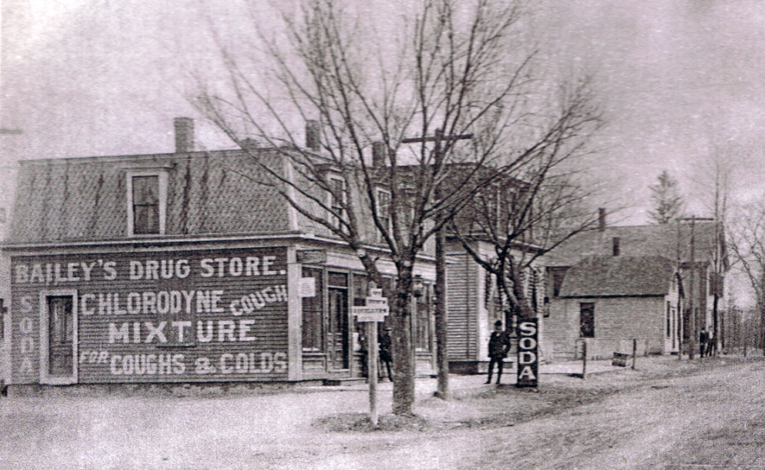 This is an old photo of Bailey's Corner in Rowley at the beginning of the 20th Century. The last building on the right still stands and was recently renovated.
