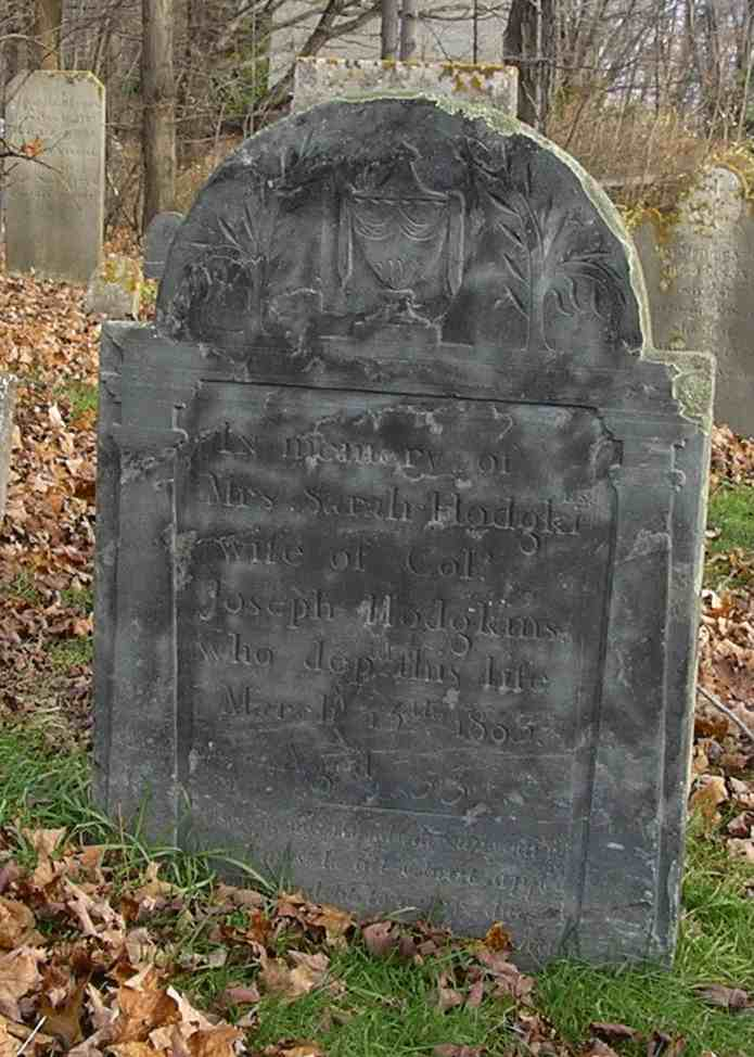 Tombstone of Sarah Hodgkins at the Old North Burying Ground in Ipswich