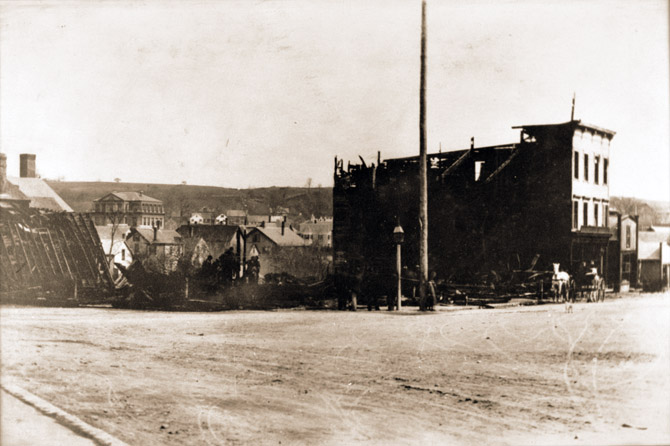 Damon Building after it burned