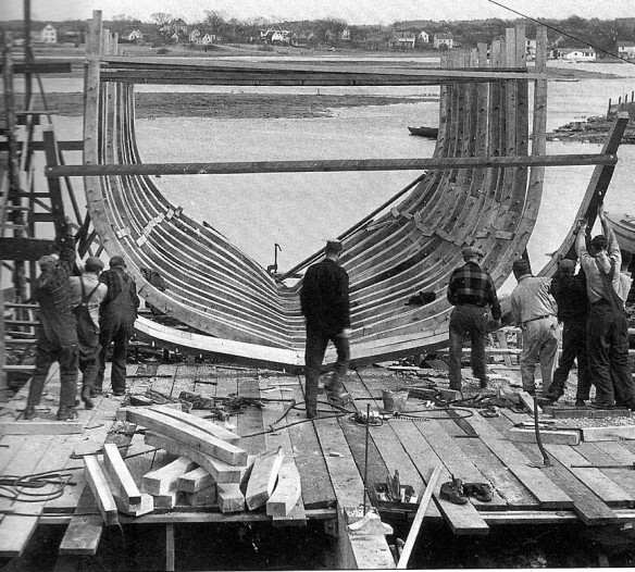 Building the frame at the Story shipyard