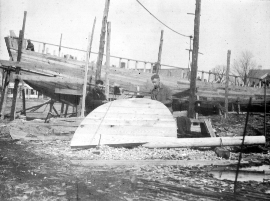 The A.D. Story shipyard in Essex, Mass, 1924