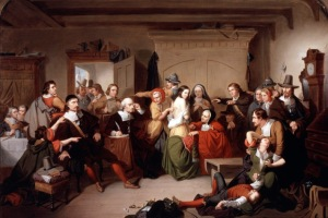 "Mathison painting, ""Examination of a Witch"" trial of Elizabeth Howe of Ipswich"
