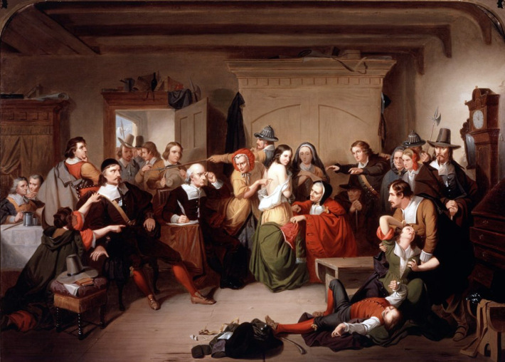 """Mathison painting, """"Examination of a Witch"""" trial of Elizabeth Howe of Ipswich"""
