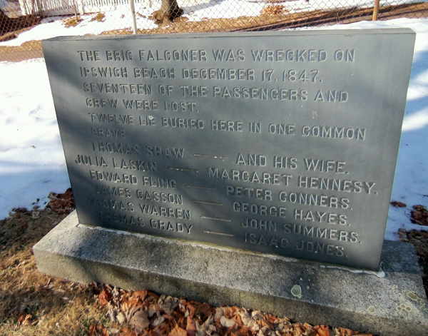 The common grave of 12 crew members who perished in the Falconer