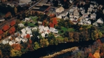 """Aerial view of """"Pole Alley"""" in Ipswich, which was once home to hundreds of immigrant mill workers."""