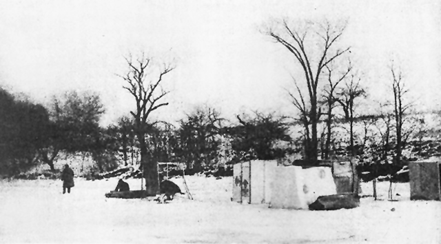 "Homeless Ipswich residents living in ""smelt shacks"" near Town Wharf in the frigid winter of 1933 - 34 (courtesy Howard Bowen)"