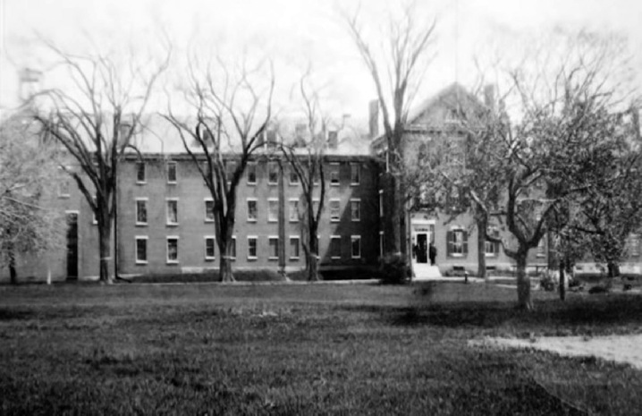 The Ipswich jail, demolished in 1937 to build the high school building which is now the Ipswich Town Hall.