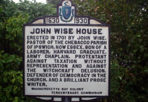 John Wise Tercentenary sign, Rt. 133, Essex MA