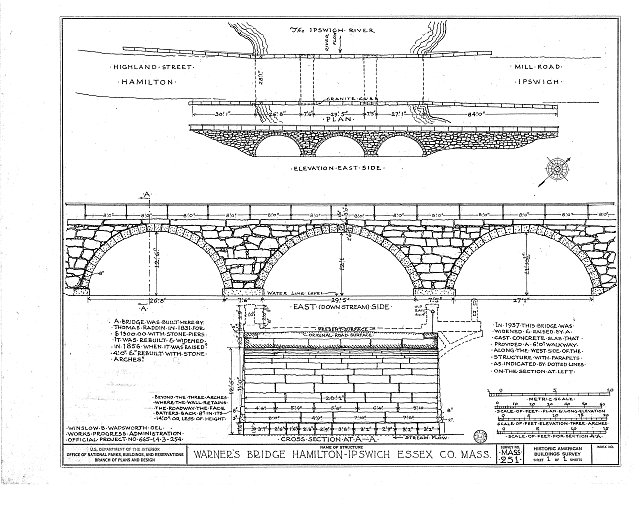 Engineering sketch of Warner's Bridge on Mill Rd. in Ipswich