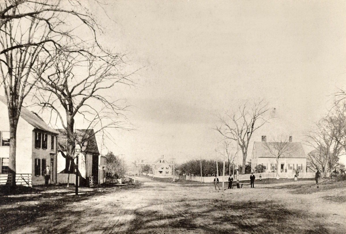 High Street before the bridge was built, with Town Farm Road on the right.