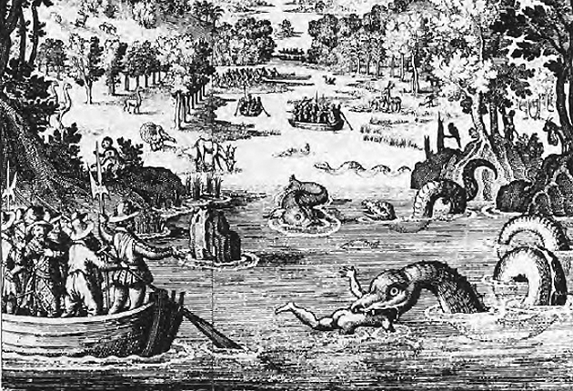 Depiction of settlers and a multi-humped sea serpent